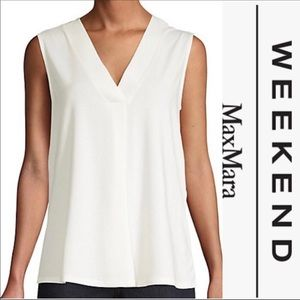NWT WEEKEND MAX MARA V-Neck Sleeveless Top - White